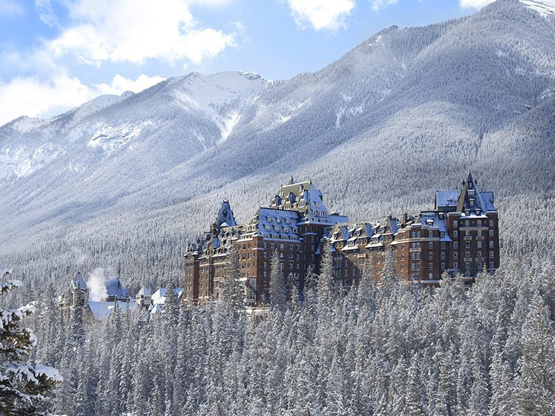 Fairmont Banff Springs hotel exterior winter shot, Banff National Park, Canada.