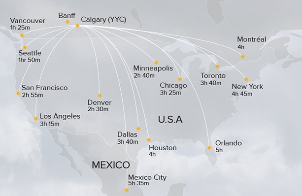 Direct flights from across North America right to Calgary International Airport (YYC)