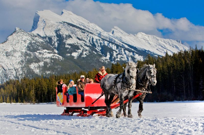 Sleigh Ride in Banff National Park, Mount Rundle in the background.