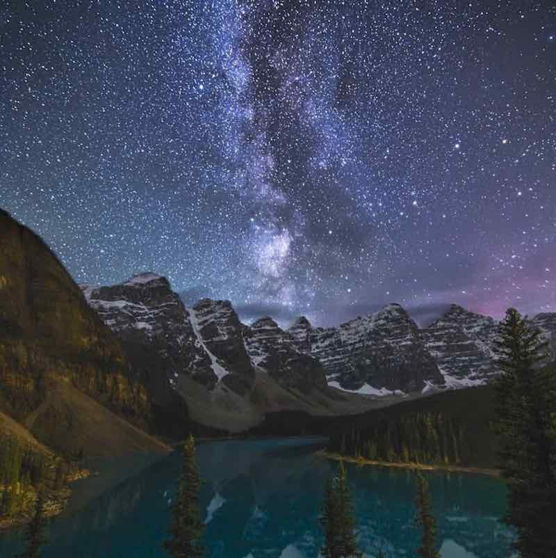 Starry night at Moraine Lake, Banff National Park.
