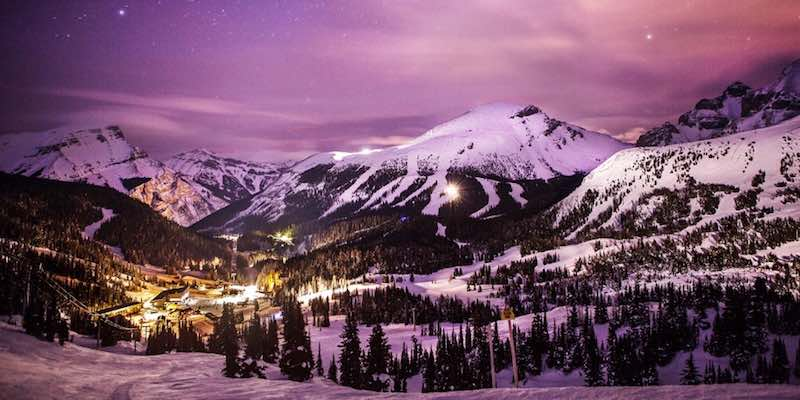 Night photo of Banff Sunshine Village, Banff National Park.