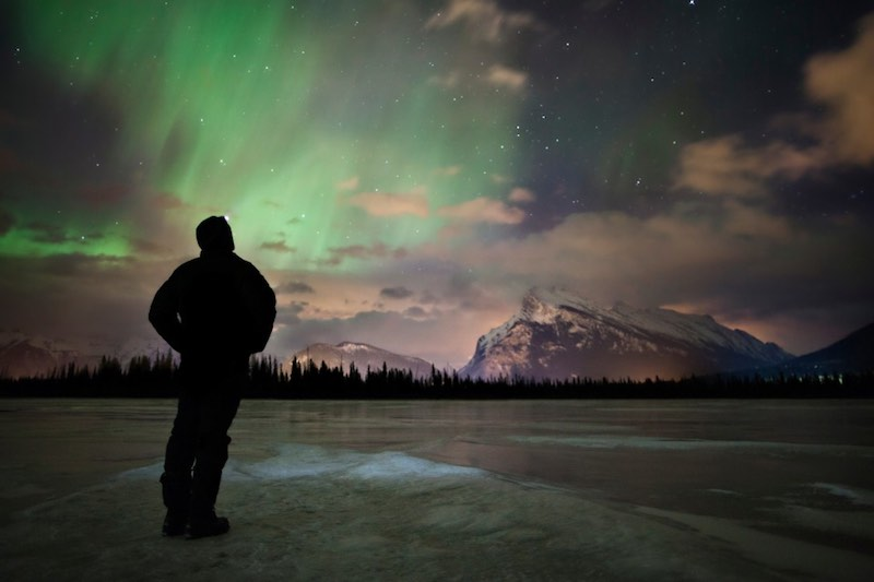 Stargazing at Vermillion Lakes, Northern Lights, Mt. Rundle. Banff National Park, Canada.