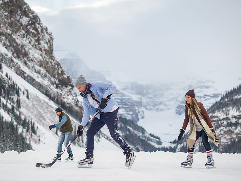 Playing Ice Hockey on Lake Louise