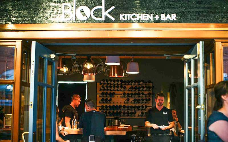 Exterior street view of Block Kitchen + Bar in Banff, Alberta.