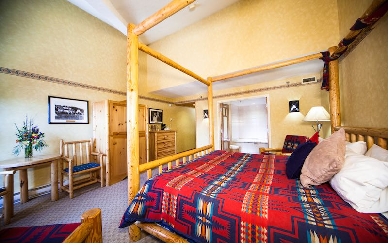 Interior of room at Brewster's Mountain Lodge, Banff National Park.