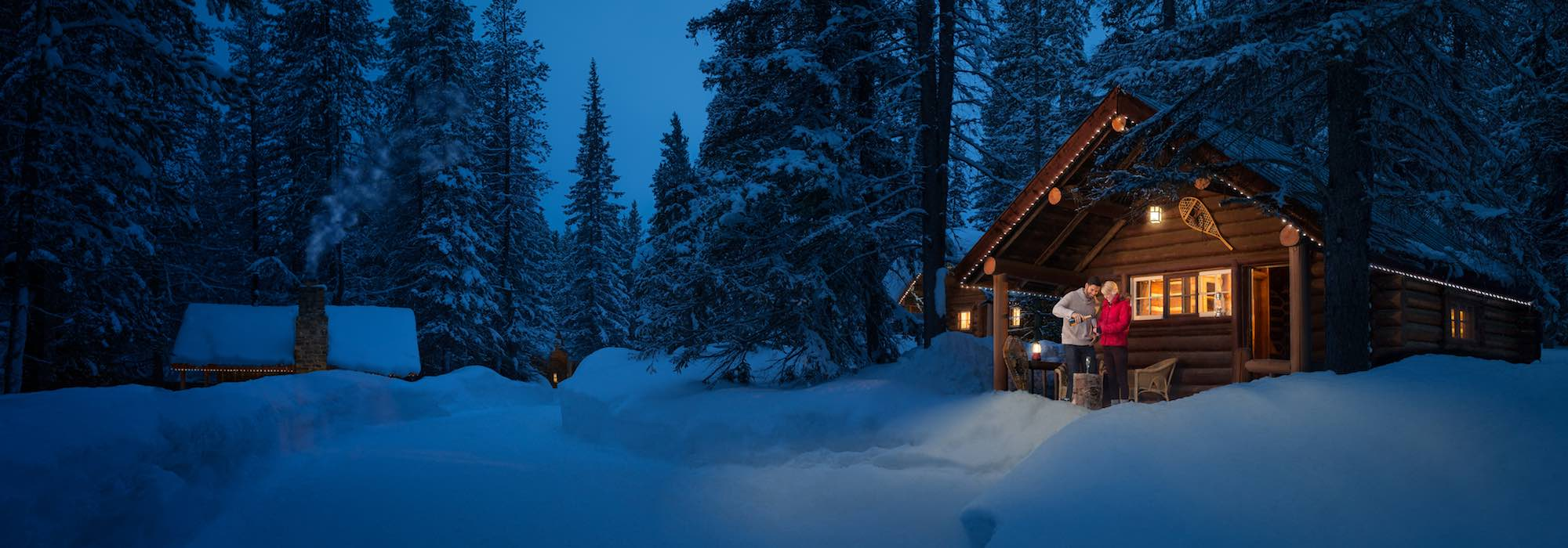 Winter exterior shot of Storm Mountain Lodge, Banff National Park.