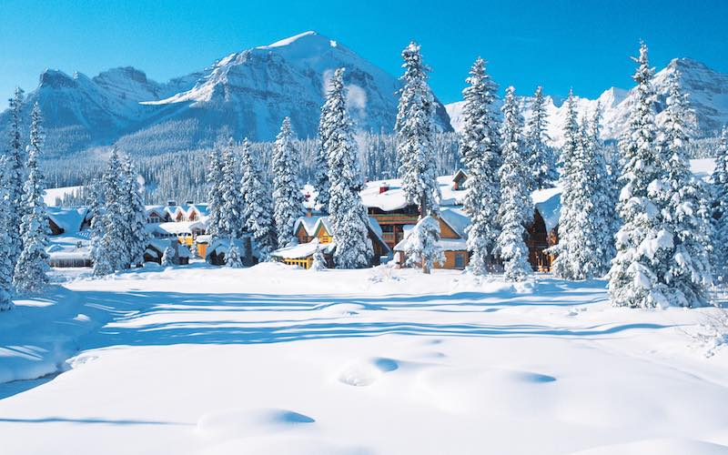This idillic winter scene demonstrates the proximity of luxury of the Post Hotel with unspoiled nature of the National Park.