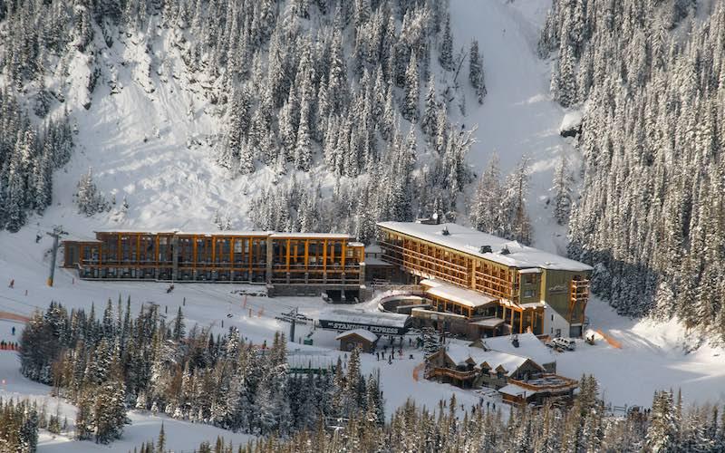 Winter exterior shot of Sunshine Mountain Lodge at Banff Sunshine Village.