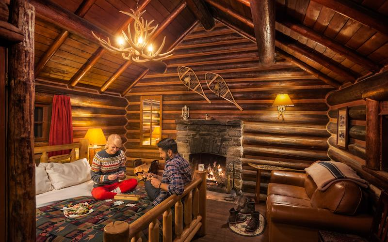 Interior cabin view of Storm Mountain Lodge cabins, Banff National Park.