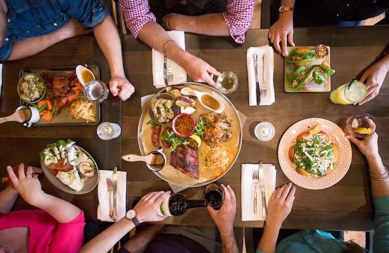 Communal dining at Park Distillery + Restaurant in Banff National Park.