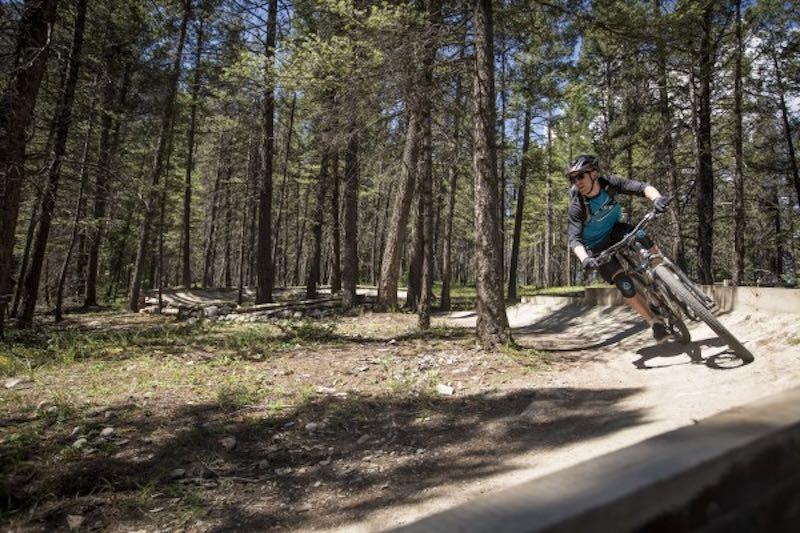 Biking near the town of Banff.