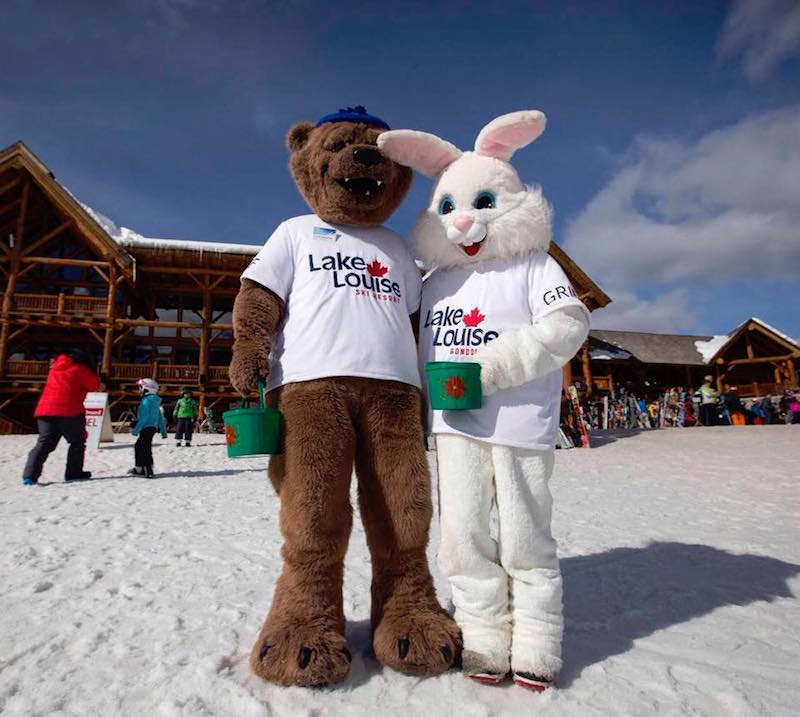 Easter Bunny and Griff the Griz at Lake Louise Ski Resort on Easter weekend. Photo courtesy of Lake Louise Ski Resort.