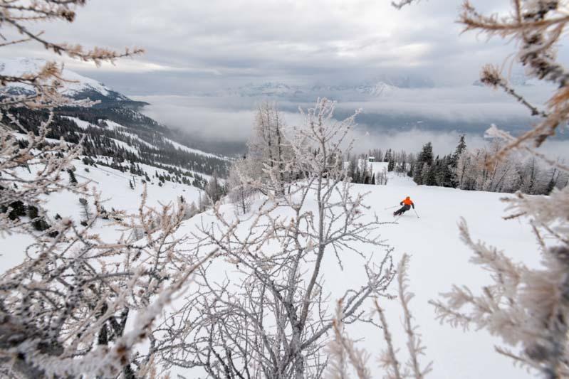 Skier on an overcast day at Lake Louise Ski Resort, Banff National Park.