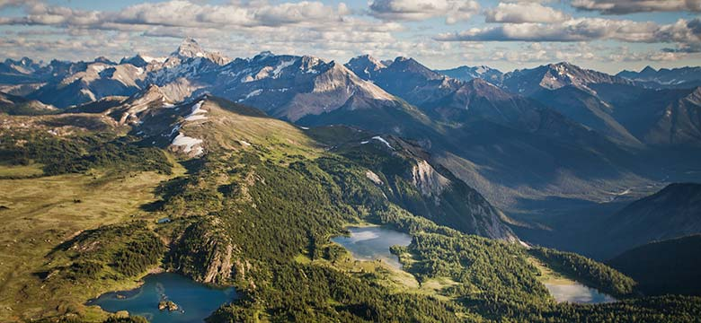 Aerial view of Sunshine Meadows. Photo: Banff Lake Louise Tourism/Paul Zizka
