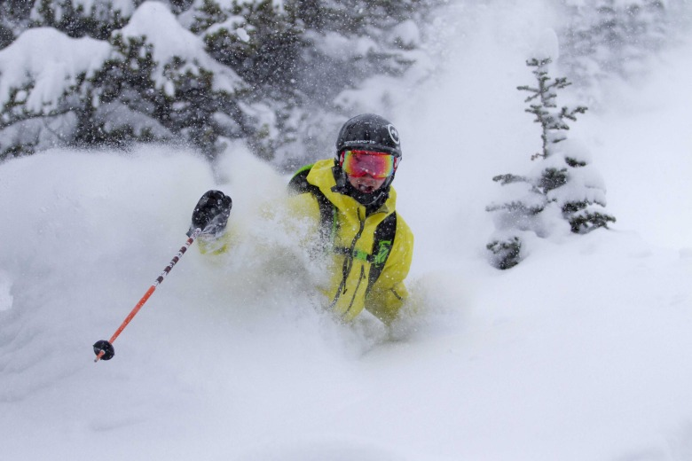 Skiing powder at Lake Louise Ski Resort. Photo: Chris Moseley