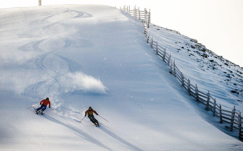 Skiing at Lake Louise. Image by Reuben Krabbe.