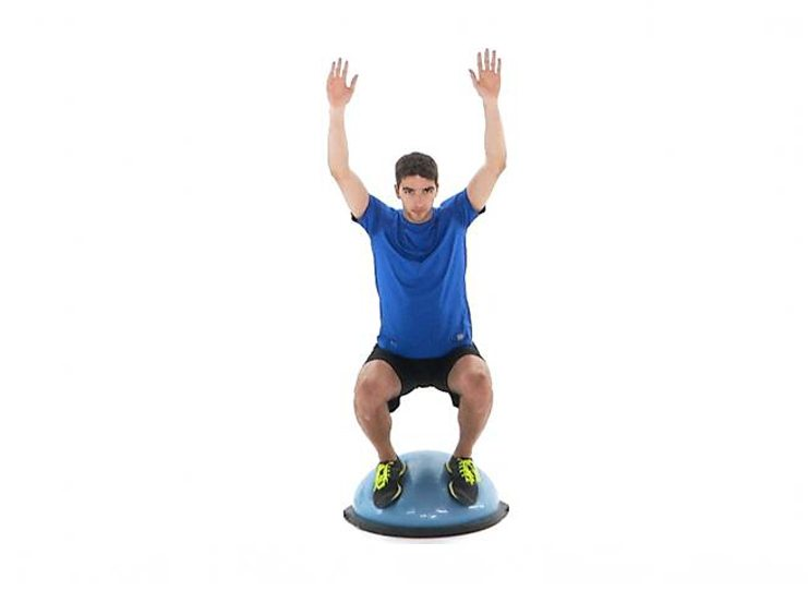 BOSU Ball Squat Ski Fitness Exercise