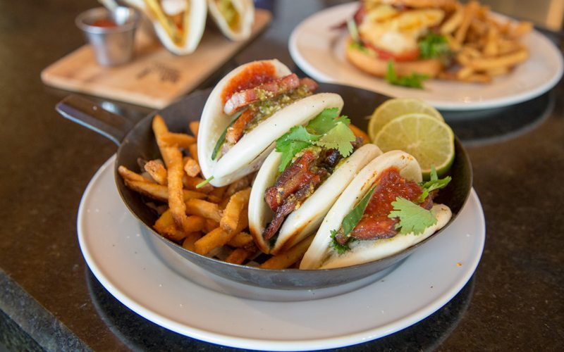 The bao Chinese steamed buns with pork belly at Mt Norquay's Lone Pine Pub are sure to impress. Photo: Dan Evans.