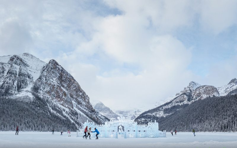 Skate on frozen Lake Louise and marvel at magnificent ice sculptures during the famous Ice Magic Festival. Photo: Travel Alberta