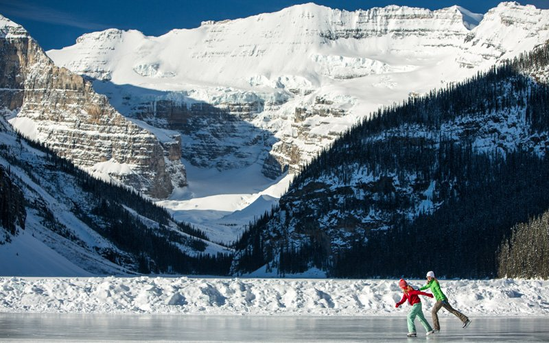 When Lake Louise freezes over each winter, it transforms into one of the world's most beautiful skating rinks. Photo: Paul Zizka.