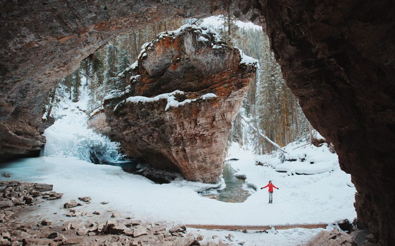 Johnston Canyon winter hike in Banff National Park. Photo: Jake Dyson.