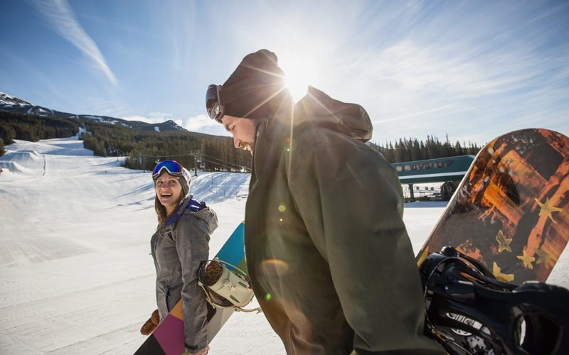 Share a ski day and amazing mountain views at Lake Louise Ski Resort. Photo: Noel Hendrickson.