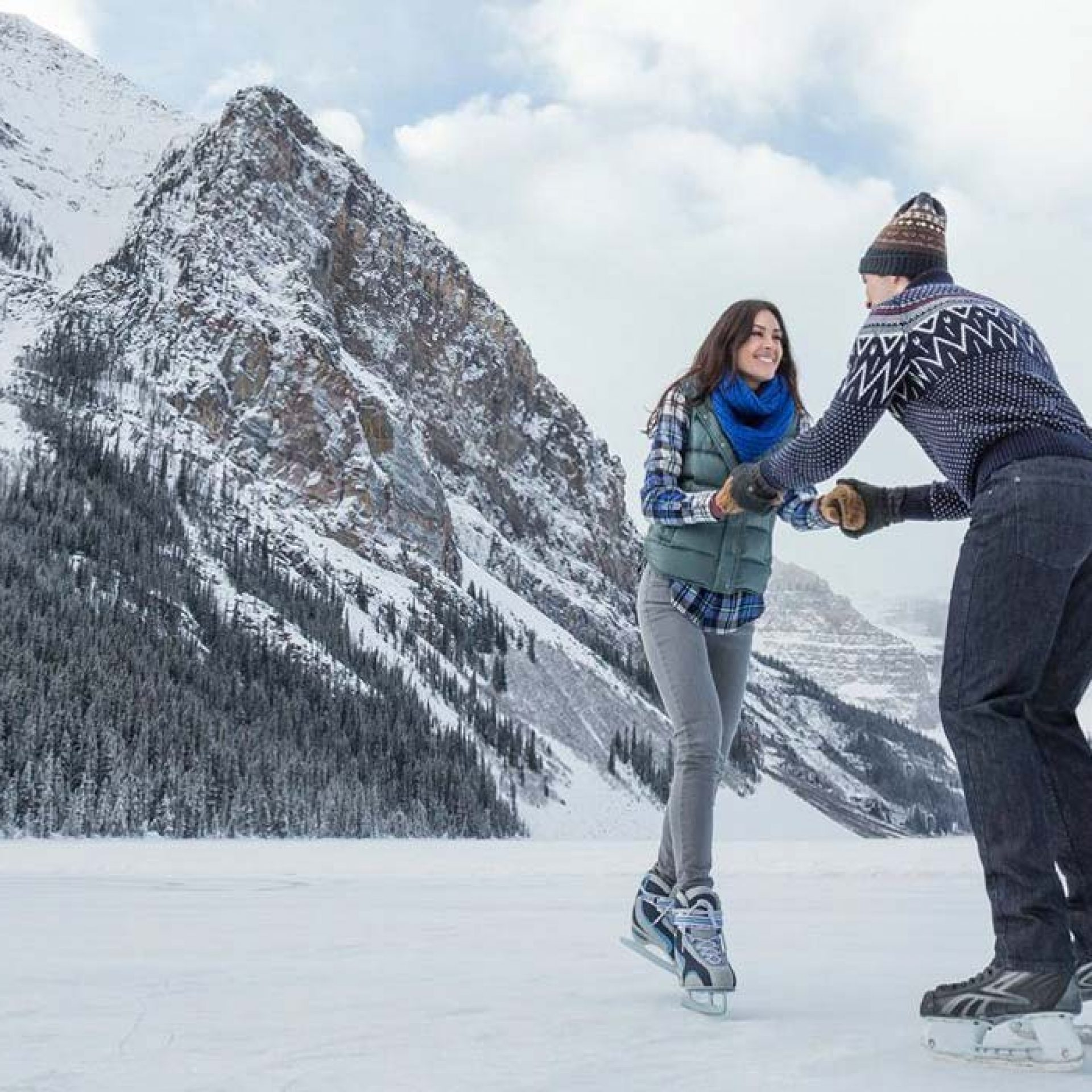 Ice skating on Lake Louise is an experience every couple should add to their bucket list. Photo: Banff & Lake Louise Tourism/Hubert Kang.