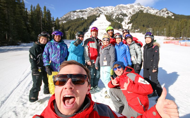 The excitement of a shared challenge is a great opportunity to meet new people. Photo: Mt Norquay.