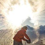 Hot water turns to ice on a cold day at Lake Louise Ski Resort. Photo: Luke Sudermann.