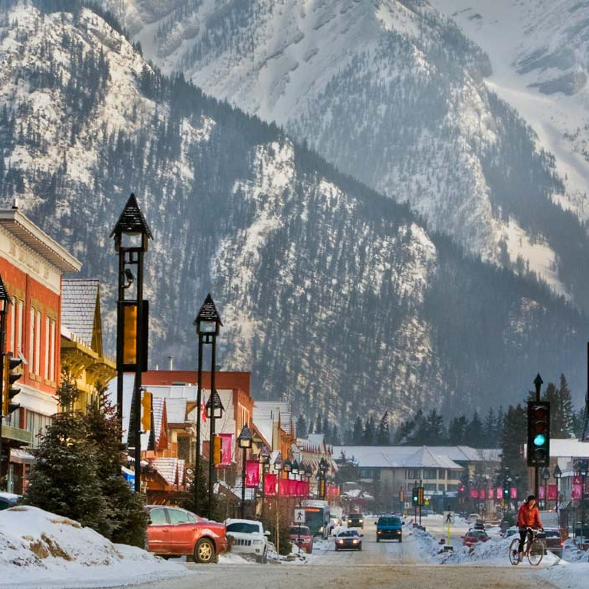 The town of Banff is known for its variety of amenities and proximity to Banff Sunshine and Mt Norquay. Photo: Paul Zizka.