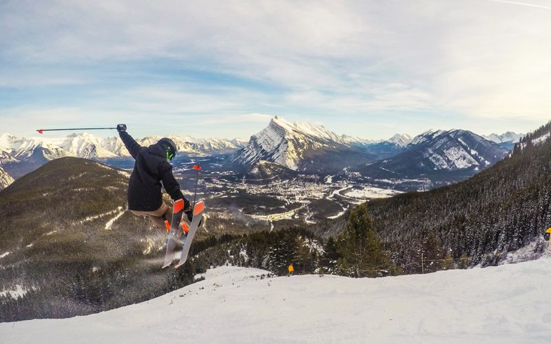 Spring is one of the best times to ski in Banff National Park. Photo: Mt Norquay by Luke Sudermann.