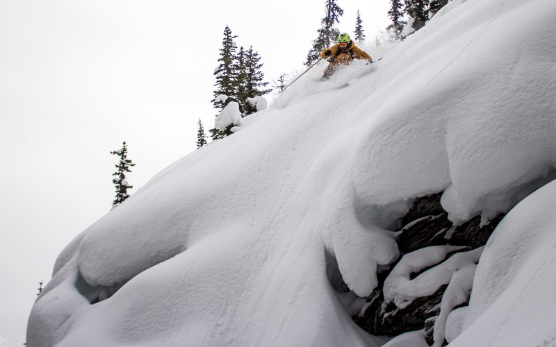 February 2017: Fresh powder and adrenaline at Secret Trees, Banff Sunshine. Photo: Luke Sudermann.