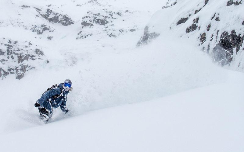 March 5, 2017: hitting Delirium Dive on a Banff Sunshine powder day. Photo: Luke Sudermann.