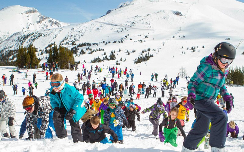 Head to the mountains for an Easter break to remember. Photo: Easter egg hunt, Banff Sunshine Village.