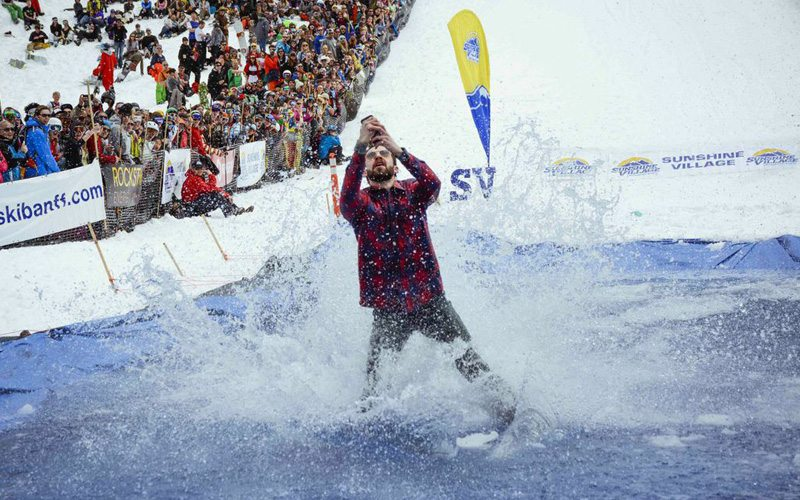 Head along to the annual Slush Cup to end the season with a bang. Photo: Banff Sunshine Village.