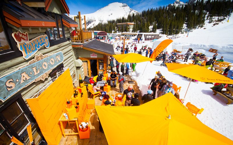 Mad Trapper's Saloon is a popular place to kick back during a perfect spring ski afternoon. Photo: Banff Sunshine Village.