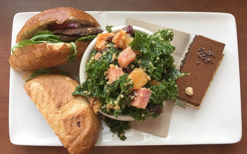 Wild Flour Cafe offers quality snacks for everyone. Photo: Portobello mushroom panini, quinoa salad and dark chocolate torte