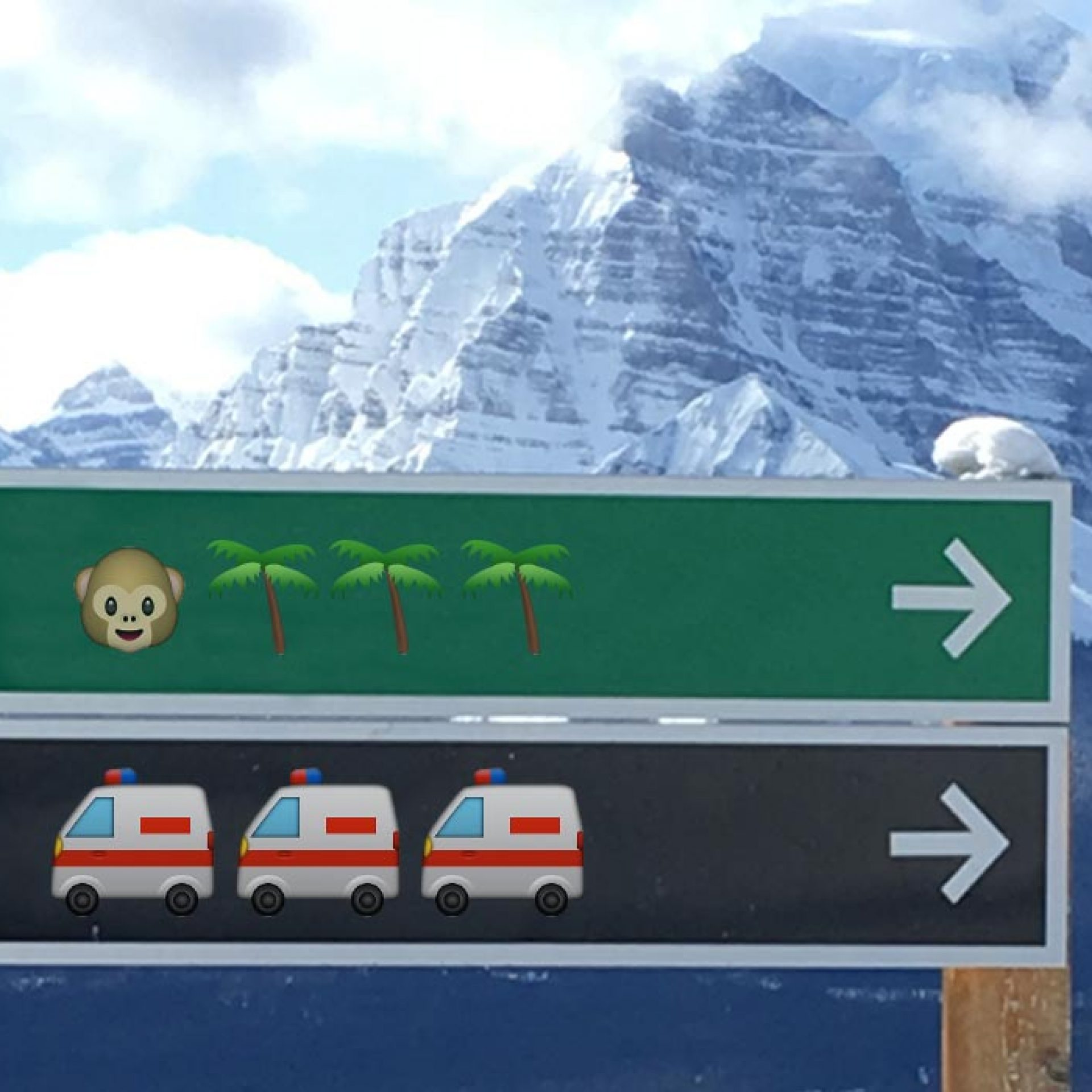 Emoji trail signs will make life easier for Banff National Park skiers.