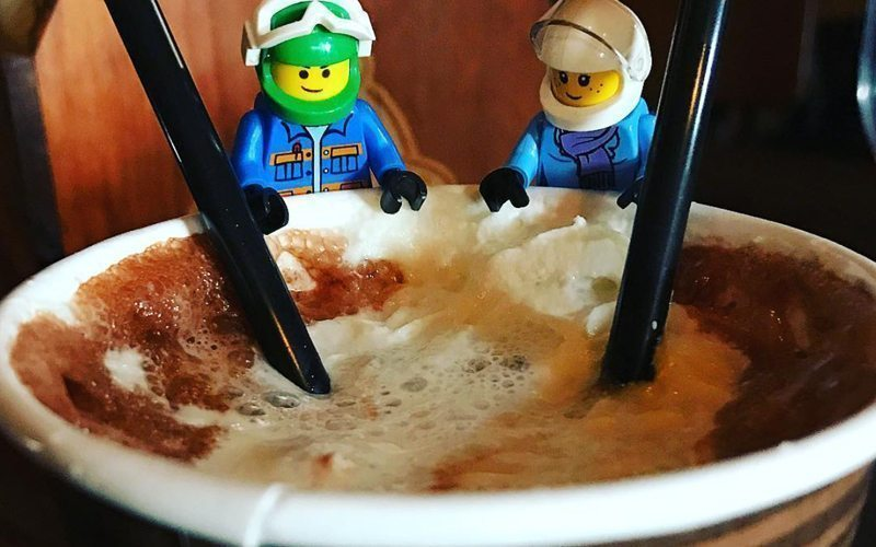 Head to Java Hut at Banff Sunshine Village for a tasty slope-side hot chocolate. Photo ia @legoskifam on Instagram