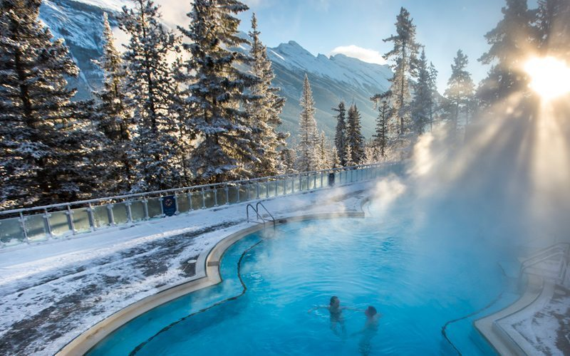 Enjoy a relaxing soak with great mountain views at Banff Upper Hot Springs. Photo: Banff & Lake Louise Tourism/Noel Hendrickson
