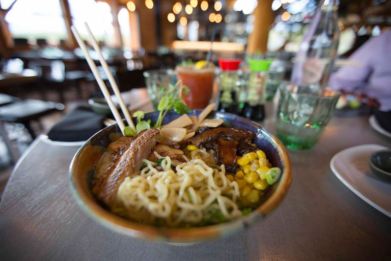 Bowl of ramen from Kuma Yama restaurant at Lake Louise Ski Resort.