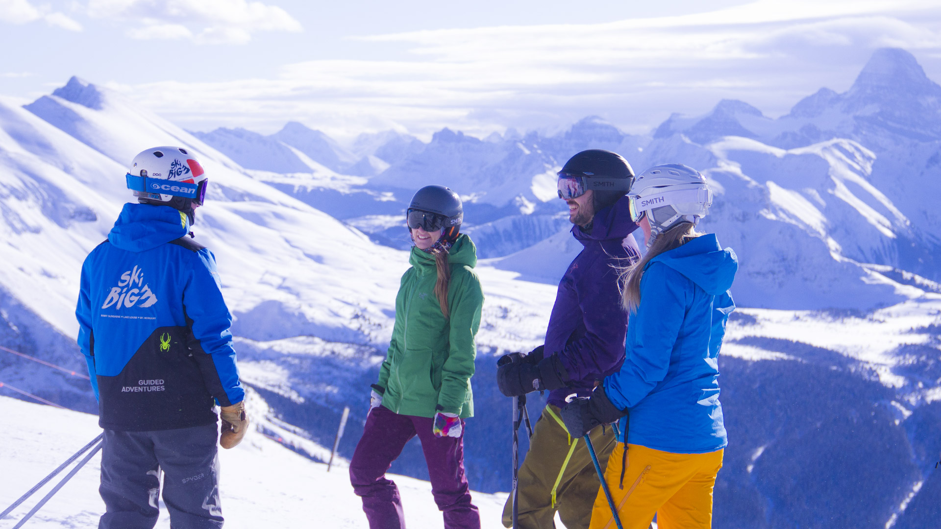 Group of skiers on a guided adventure at Sunshine Village