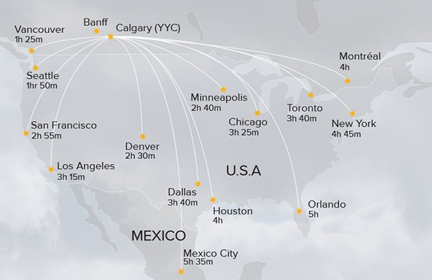 Map of direct flights to Banff from USA and Canada