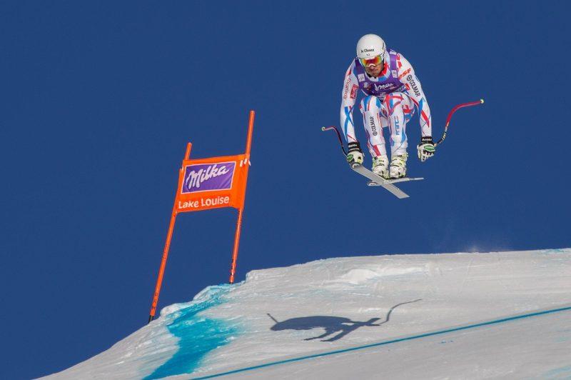 Ski racer at Men's Downhill event, World Cup, Lake Louise Ski Resort, Banff National Park.