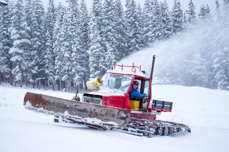 Snowcats working at Mt. Norquay ski resort.