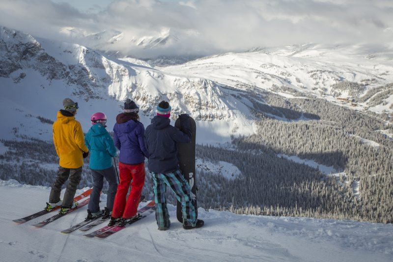 Group looking out over Goats Eye mountain, Sunshine Village. Photo by Dan Evans.