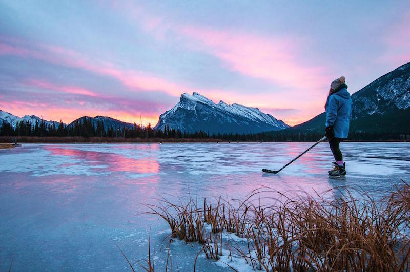 Sunrise skate at Vermillion Lakes, Banff National Park.