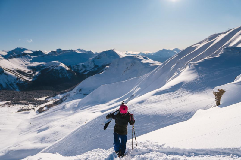 Sasha DiGiulian explores off the summit platter at Lake Louise Ski Resort. Photo by Tony Czech