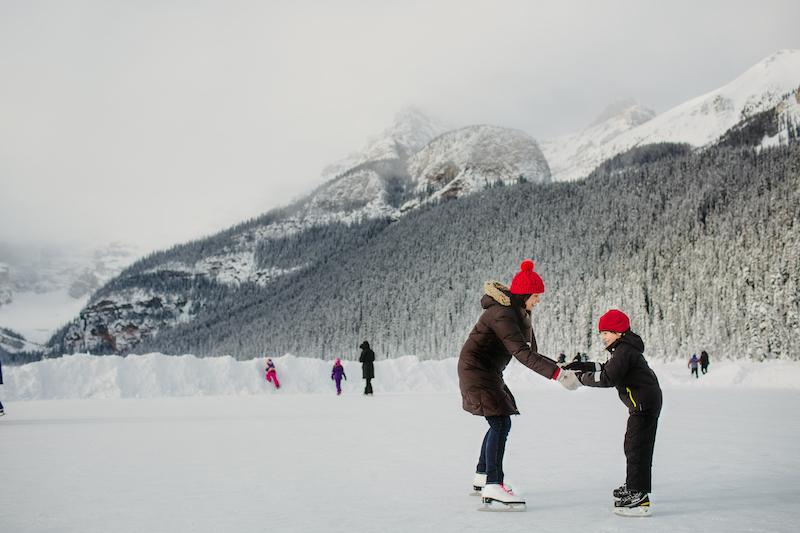 Ice skating on Lake Louise