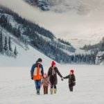Walking in the snow at Lake Louise